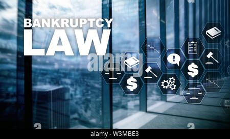 Bankruptcy law concept. Insolvency law. Judicial decision lawyer business concept. Mixed media financial background - Stock Image