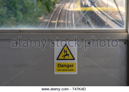 sign warning of danger of electric shock - Stock Image