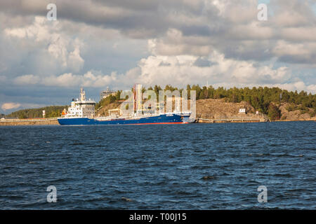 Moored blue and white Astoria cargo ship, Baltic sea, Stockholm, Sweden, Europe - Stock Image