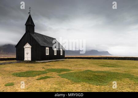 Budir, Snaefellsnes Peninsula, Western Iceland, Iceland. The black church of budir - Stock Image