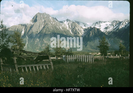 Indian cemetery; Kitwanga, British Columbia, Canada. - Stock Image