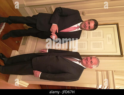 U.S. Secretary of State Rex Tillerson and German Foreign Minister Sigmar Gabriel pose for a photo in front of the - Stock Image