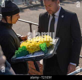 Braintree, UK. 29th Mar, 2019. funeral of Prodigy frontman Keith Flint at St Mary's Church in Bocking attended by hundreds of his fans Flowers arrive at the church Credit: Ian Davidson/Alamy Live News - Stock Image
