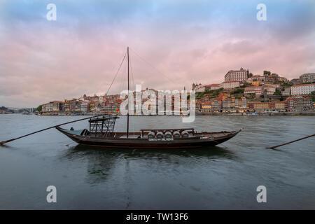 Rabelo boat, 'Quinta dos Malvedos' traditional Port barrel boat moored on the Rio Douro, Porto, Portugal. - Stock Image