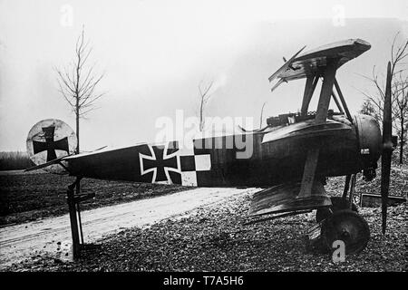 A Fokker DR.I Triplane of the German Air Force, used during the latter part of World War One. Black and white original photograph of the era. - Stock Image