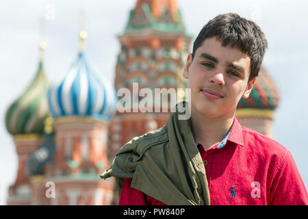 Boy in Red Square. Moscow. Russia - Stock Image