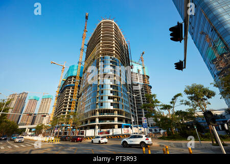 Construction of new high-rise building in Shenzhen city. Guangdong Province, China. - Stock Image