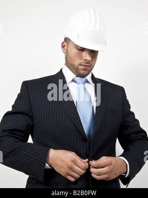 welldressed architect on isolated background - Stock Image