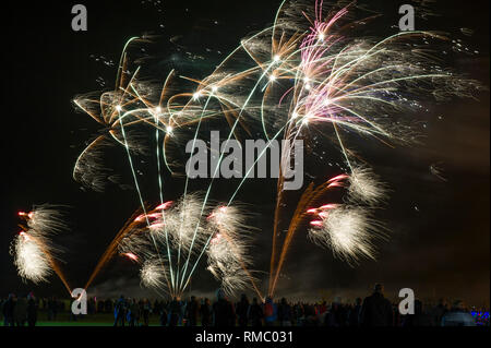 Crowds watching the annual Driffield Fireworks display in Great Driffield, East Yorkshire - Stock Image