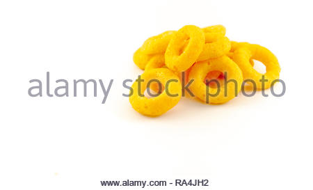 ring yellow snacks for food isolated white background - Stock Image