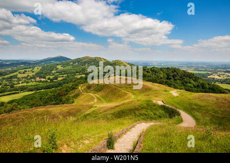 A view of the Malvern Hills from the earthworks of British Camp Iron Age fort, Worcestershire, England - Stock Image