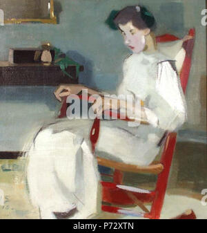 .  Suomi: Keinutuolissa English: On the rocking chair Svenska: I gungstolen  1910 19 Helene Schjerfbeck - On the rocking chair (1910) - Stock Image