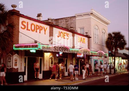 Key West Florida Keys Duval Street Sloppy Joe's Bar author Ernst Hemingway drank here - Stock Image