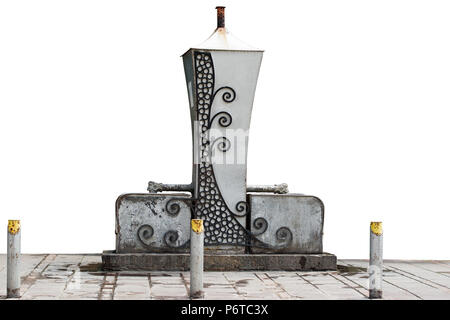 Public artesian well from Becej (a small town and municipality in the Autonomous Province of Vojvodina, Serbia) isolated on white background. - Stock Image