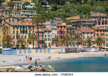 The Beach at Santa Margherita Ligure - Stock Image