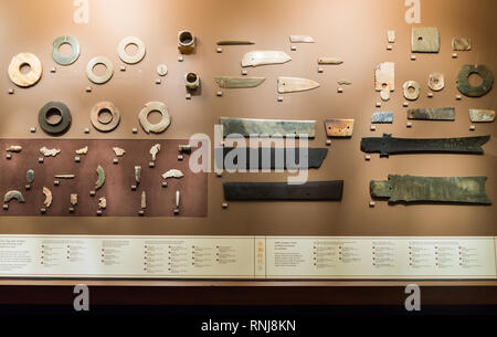 Jade artifacts in display. The Field Museum, Chicago, Illinois, USA. - Stock Image