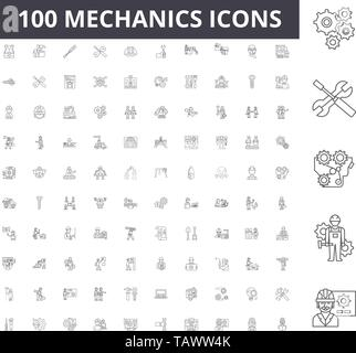 Mechanics line icons, signs, vector set, outline illustration concept  - Stock Image