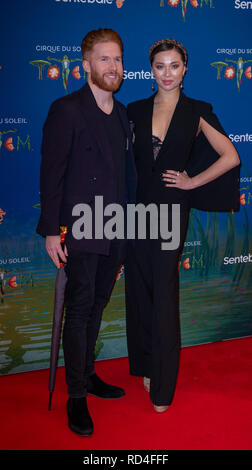 London, United Kingdom. 16 January 2019. Katya Jones & Neil Jones arrives for the red carpet premiere of Cirque Du Soleil's 'Totem' held at The Royal Albert Hall. Credit: Peter Manning/Alamy Live News - Stock Image