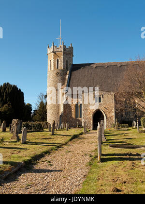 The Thatched Church of St Edmund with its Saxon Round Tower in Acle, Norfolk, England, UK - Stock Image