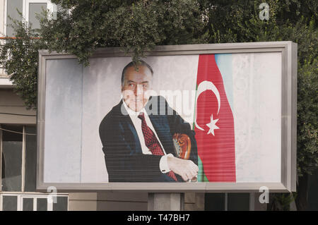 Azerbaijan, Baku, Central Baku, political propeganda sign - Stock Image