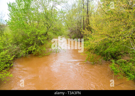 Swollen Creek After Flooding - Stock Image