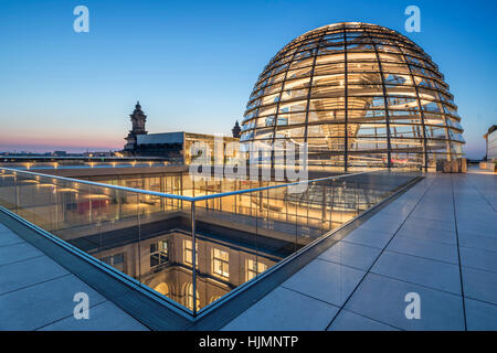 Reichstag buildling , cupola by Sir Norman forster at twilight,  Berlin, - Stock Image