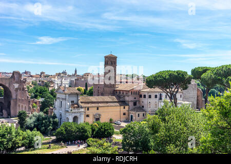 Rome, Italy - 24 June 2018: The ancient ruins of Basilica of Maxentius at Palatine Hills, Roman Forum in Rome - Stock Image