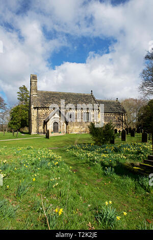Parish church of St John The Baptist, Adel, Leeds, West Yorkshire, England UK - Stock Image