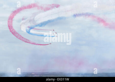 RAF Red Arrows aerobatic display team above Weston super Mare - Stock Image