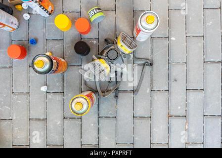 Israel, Tel Aviv - 20 October 2018: Spray cans used by graffiti artists - Stock Image