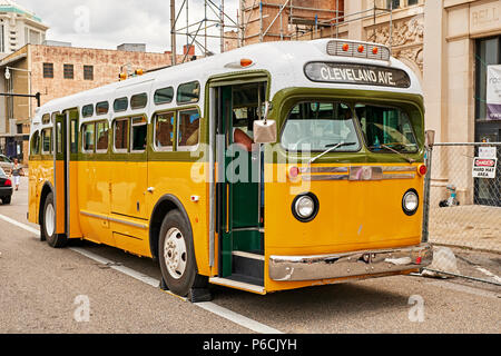 Replica of the Rosa Park's bus she was arrested from during the civil rights struggles in the 1960s in Montgomery Alabama, USA. - Stock Image