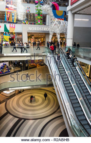 Nordstrom store in The Eaton Centre a multi level downtown shopping mall Toronto Ontario Canada - Stock Image