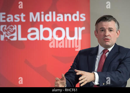 Nottinghamshire, England, UK. 2nd February 2019. East Midlands Labour Party Conference 2019, Nottingham, Nottinghamshire, England, UK. 2nd. February, 2019. Labour's Shadow Secretary of State for Health and Social Care Jon Ashworth M.P. debating the Labour Party Policy on the National Health Service with party members at the East Midlands Labour Party Conference 2019. Alan Beastall/Alamy Live News - Stock Image