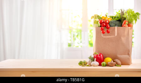 healthy foods are on the table in the kitchen - Stock Image