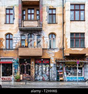 M99 General Store for revolutionary needs is an Alternative-left store run by paraplegic,Hans Georg Lindenau,in Falckensteinstraße 46,Kreuzberg,Berlin - Stock Image
