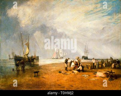 JMW Turner, The Fish Market at Hastings Beach, painting, 1810 - Stock Image