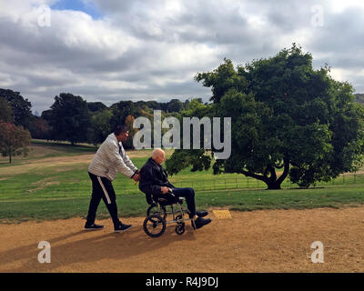 Carer taking old man in a wheel chair - Stock Image
