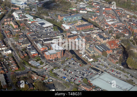 aerial view from over Tesco Superstore towards Stalybridge town centre - Stock Image