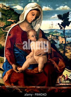Madonna con il Bambino - Madonna and Child by Bartolomeo Veneto 1502-1530 Venice ,Italy, Italian. - Stock Image