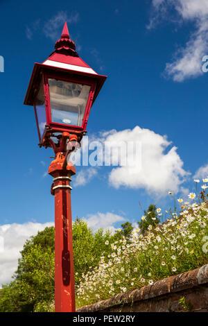 UK, Cumbria, Dentdale, Cowgill, Dent Station, platform lamp on Settle to Carlisle railway line - Stock Image