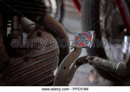 1942 Harley Davidson; with a Confederate Flag Pedal - Model  WLA 750 - Stock Image