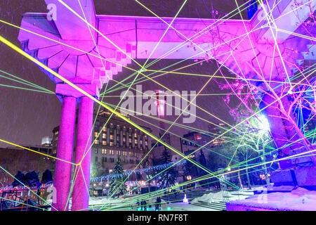 Glow Winter Light Festival at the  downtown Calgary Olympic Plaza - Stock Image