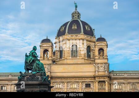 Austria, Vienna, Naturhistorisches Natural History Museum, Maria Theresa statue, inaugurated 1888 - Stock Image