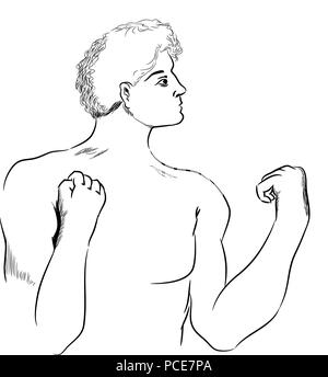 Boxer man.  Standing half body naked of boxer man waiting for fight. - Stock Image