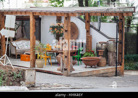 Typical Historical Porch House Sao Paulo Brazil - Stock Image