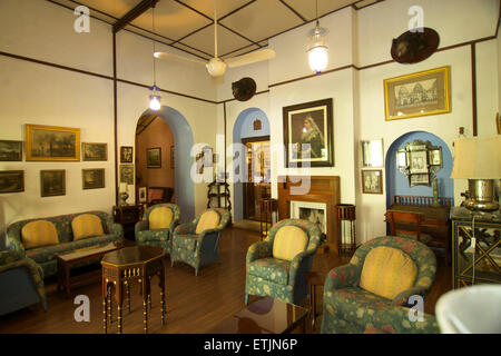The lounge, Connaught House Heritage hotel, Mount Abu, Rajasthan, India - Stock Image