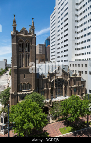 First United Methodist Church Main Street Houston Texas - Stock Image