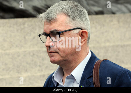 London, UK. 1st May, 2019. Mick Cash, General Secretary of the National Union of Rail, Maritime and Transport Workers. Mayday rally in Trafalgar Square. Credit: JOHNNY ARMSTEAD/Alamy Live News - Stock Image
