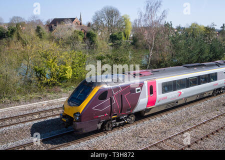 A Class 220 Voyager high speed train operated by CrossCountry at Hinksey, Oxford - Stock Image