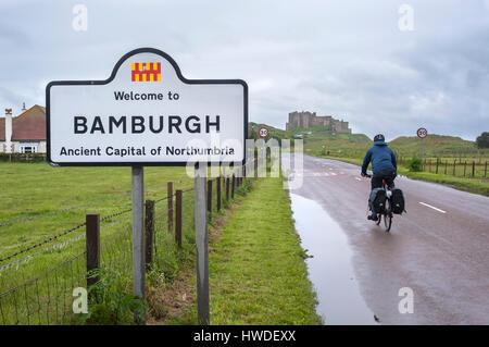NORTHUMBERLAND, ENGLAND - JUNE 17, 2016 - Male cyclist heading towards Bamburgh Castle, Northumberland, England - Stock Image